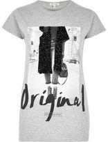 River Island Womens Grey 'Original Girl' print T-shirt