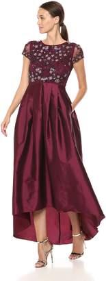 Adrianna Papell Women's Short Sleeved Beaded Long Dress with Taffeta HIGH Low Skirt