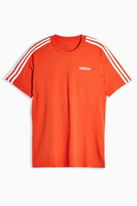 adidas Womens Orange Three Stripe T-Shirt By Orange
