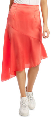 Missguided Satin Asymmetric Skirt Coral