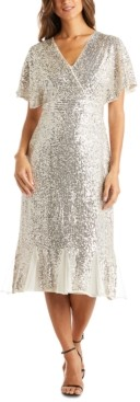 R & M Richards Sequinned Fit & Flare Dress