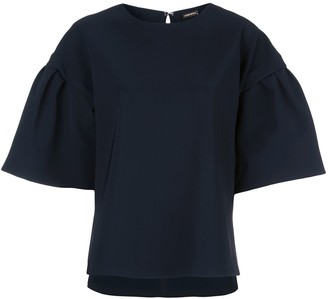 Adam Lippes Flutter-Sleeve Bonded Top