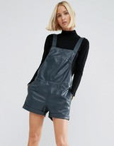 Asos Leather Look Pinafore Romper