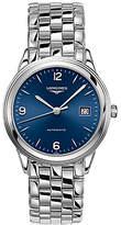 Longines L48744966 Men's Flagship Automatic Date Bracelet Strap Watch, Silver/Blue