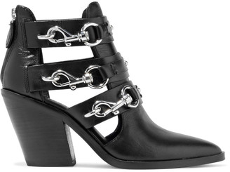 Rebecca Minkoff Seavie Clasp-detailed Leather Ankle Boots