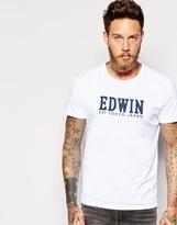 Edwin T-shirt Logo Print - White