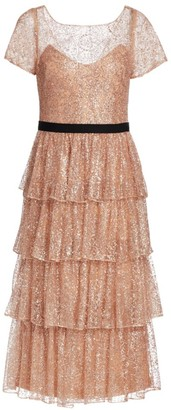 Marchesa Off-The-Shoulder Embroidered Dress