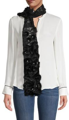Valentino Embellished Silk and Mink Fur Scarf
