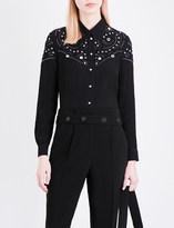 Claudie Pierlot Camden eyelet-embellished crepe shirt