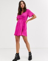 QED London flared sleeve wrap mini dress in hot pink