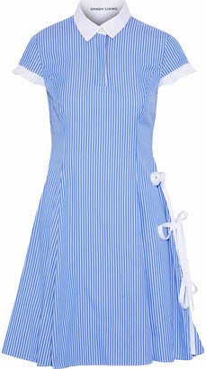 Sandy Liang Altima Bow-detailed Striped Cotton-poplin Dress