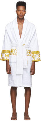 Versace White Logo Barocco Robe
