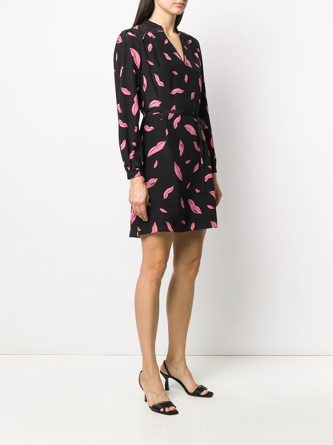 Thumbnail for your product : Diane von Furstenberg Falling Lips tie-waist dress