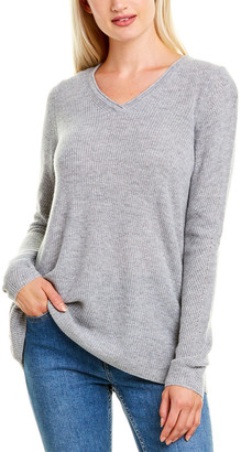 Forte Cashmere Easy Rib V-Neck Cashmere Sweater