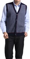 Cashmere DX MedzRE Men's 100% Cashmere V Neck Button Up Knit Vest Sweater XL