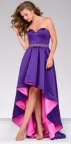 Jovani Color Blocked High Low Rhinestone Belted Evening Dress