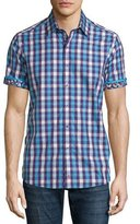 Robert Graham Griswold Check Short-Sleeve Shirt, Purple Pattern