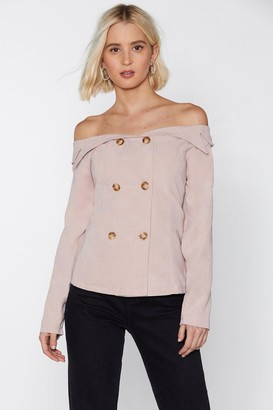 Nasty Gal Womens Double Breast Course Of Action Off-The-Shoulder Top - Beige - 6, Beige