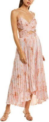 AMUR Lumi Silk Skirt Maxi Dress