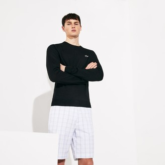 Lacoste Men's SPORT Solid Breathable Knit Crew Neck Golf Sweater
