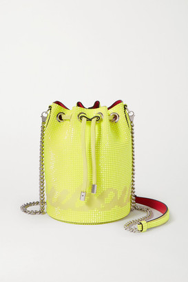 Christian Louboutin Marie Jane Neon Crystal-embellished Suede Bucket Bag - Yellow