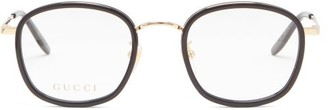 Gucci Square Metal And Acetate Glasses - Clear