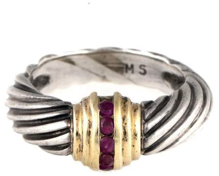 David Yurman 14k Yellow Gold and Sterling Silver Ruby Ring Size 5