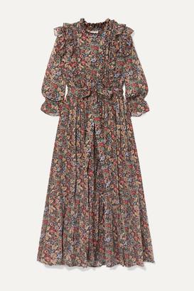 DÔEN Esme Ruffled Floral-print Cotton-voile Maxi Dress - Black