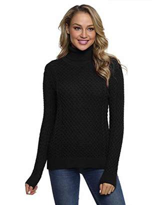 Lynz Pure Women's Turtleneck Sweater Long Sleeve Chunky Cable Knit Jumper Pullover Sweater Top XL
