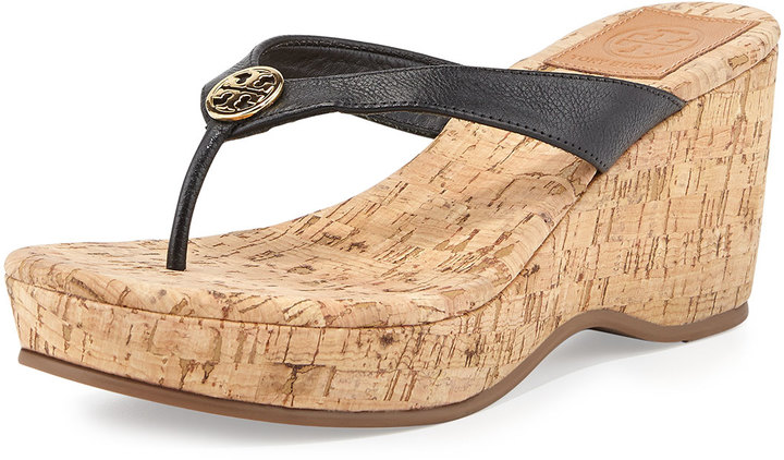 Tory Burch Suzy Cork Wedge Thong Sandal, Black