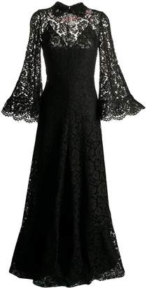 Valentino long crystal-embellished lace dress