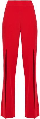 Jonathan Simkhai Split-front Crepe Straight-leg Pants