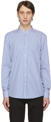 BOSS Blue and White Micro Stripe Jorris Banded Collar Shirt