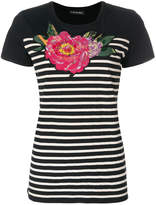 Twin-Set flower embroidered striped top