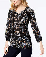 Style&Co. Style & Co Petite Printed Split-Neck Peasant Top, Created for Macy's