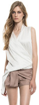 LAMARQUE - Flora Sueded Silk Wrap Top In Off White