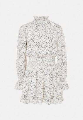 Missguided White Polka Dot High Neck Shirred Waist Dress