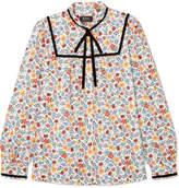A.P.C. Abott Velvet-trimmed Floral-print Cotton-twill Blouse