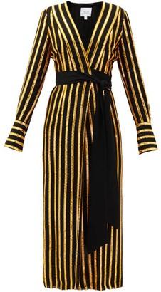 Galvan Pride Sequin-striped Wrap Dress - Black Gold