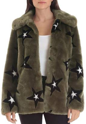AVEC LES FILLES Star-Patterned Faux Fur Coat