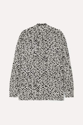 Haider Ackermann Oversized Printed Crepe Shirt - Black