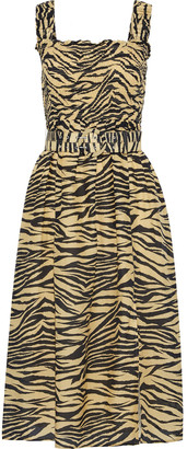Nicholas Belted Shirred Zebra-print Cotton And Silk-blend Midi Dress