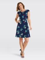 Floral Ponte A-Line Dress