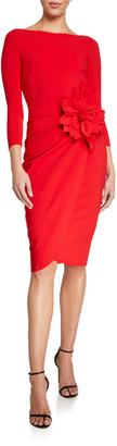 Chiara Boni Glenaly Boat-Neck 3/4-Sleeve Dress with Apron Skirt & Flower Detail