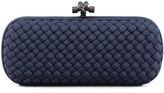 Bottega Veneta Woven Faille Large Knot Clutch Bag, Blue