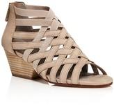 Eileen Fisher Crisscross Nubuck Leather Block Heel Sandals