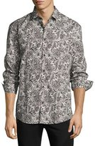 Versace Baroque Paisley Stretch-Cotton Sport Shirt, Blue/Brown