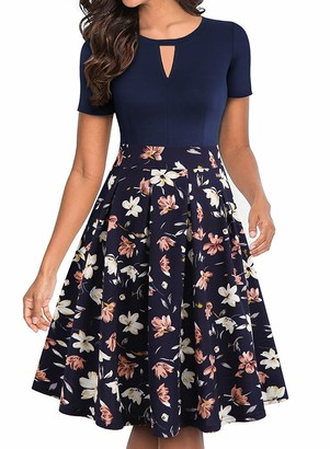 ihot Women's Vintage Floral Flared A-Line Swing Casual Party Dresses with Pockets