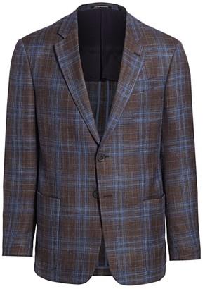Emporio Armani Plaid Virgin Wool, Linen & Silk Sport Coat