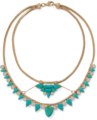 Noir 14-karat Gold-plated, Stone And Crystal Necklace